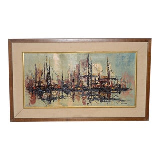 Mid Century Modern Abstract Cityscape by Garcia C.1950s For Sale
