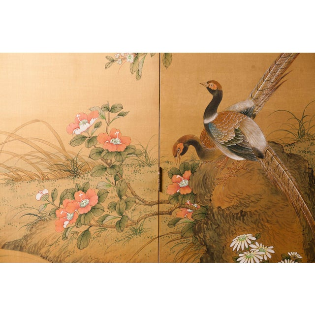 Sung Tze-Chin Large Chinoiserie Hanging Screen Ink on Silk Birds and Flowers Scene 9 Feet Wide by 7 Feet Height For Sale In Seattle - Image 6 of 13