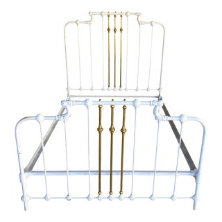 Vintage Cast Iron Victorian Style Double Bed For Sale
