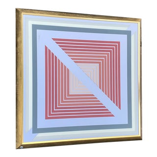 1970s Greg Copeland Large Brass Geometric Graphic Art Op Mirror For Sale