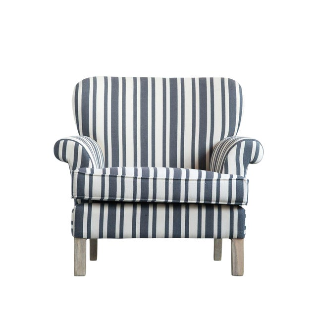 Classic style armchair made with wood and traditional black and cream striped fabric. Very chic and very classic. Width:...