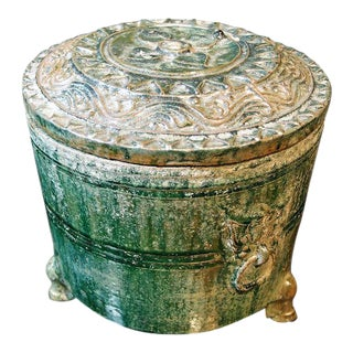 A Han Dynasty Green Glazed Covered Storage Jar For Sale