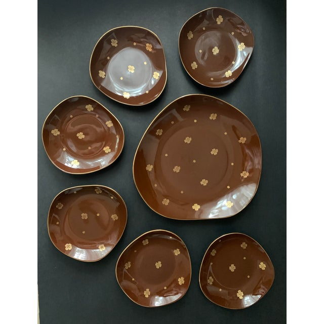 Vintage Mid Century Brow Gilded Cake Dessert Serving Set - 7 Pieces For Sale - Image 11 of 11