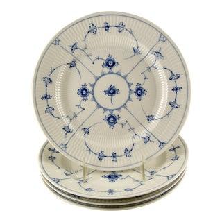"Royal Copenhagen Blue Fluted Lace Plain 10"" Dinner Plates - Set of 4 For Sale"