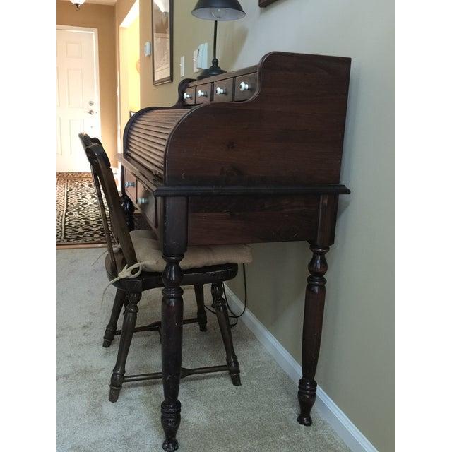 Ethan Allen Old Tavern Antiqued Pine Rolltop Desk & Chair - A Pair - Image 3 - Ethan Allen Old Tavern Antiqued Pine Rolltop Desk & Chair - A Pair