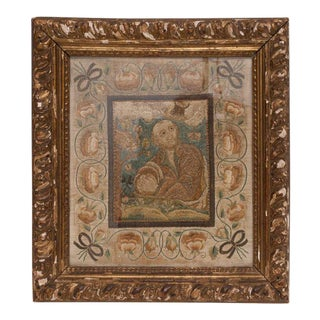 Italian Silk Thread Needlework in Gilt Frame For Sale