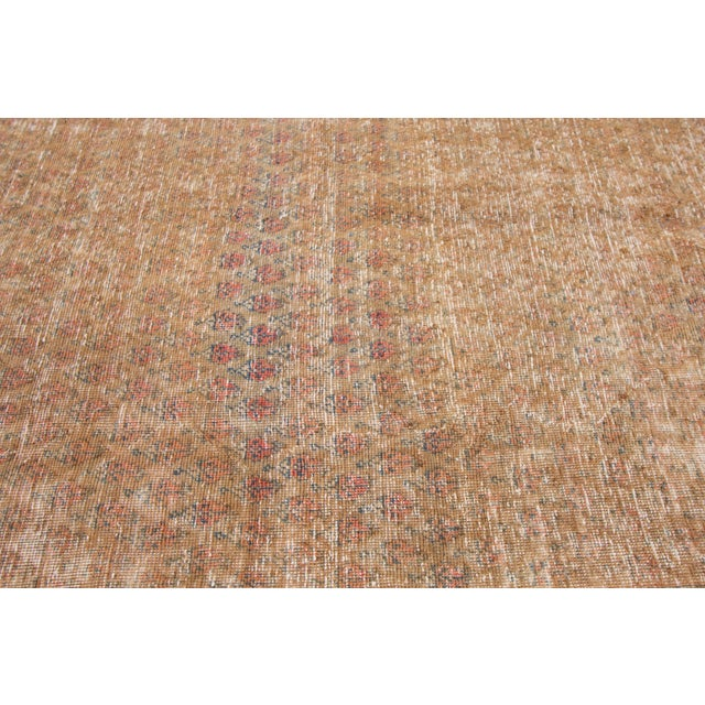 """Tan 1910s Traditional Apadana-Antique Persian Distressed Rug - 6'8"""" X 10'5"""" For Sale - Image 8 of 10"""