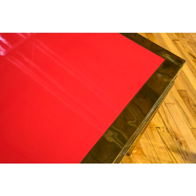 Hollywood Regency Italian Brass and Red Lacquered Low Table For Sale - Image 3 of 4