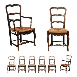 19th Century Louis XV French Provencal Chairs With Rush Seats - Set of 8 For Sale