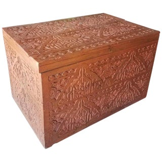 Moroccan Wooden Cedar Trunk For Sale