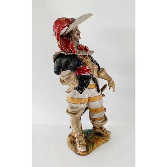 "1920s 1920s Vintage A. Ciolli Italian Glazed Ceramic ""Musketeer"" Signed Figurine For Sale - Image 5 of 10"