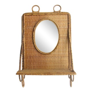 Bamboo & Cane Wall Shelf & Mirror For Sale