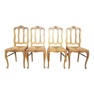 French Rush Seat Dining Chairs - Set of 4 For Sale