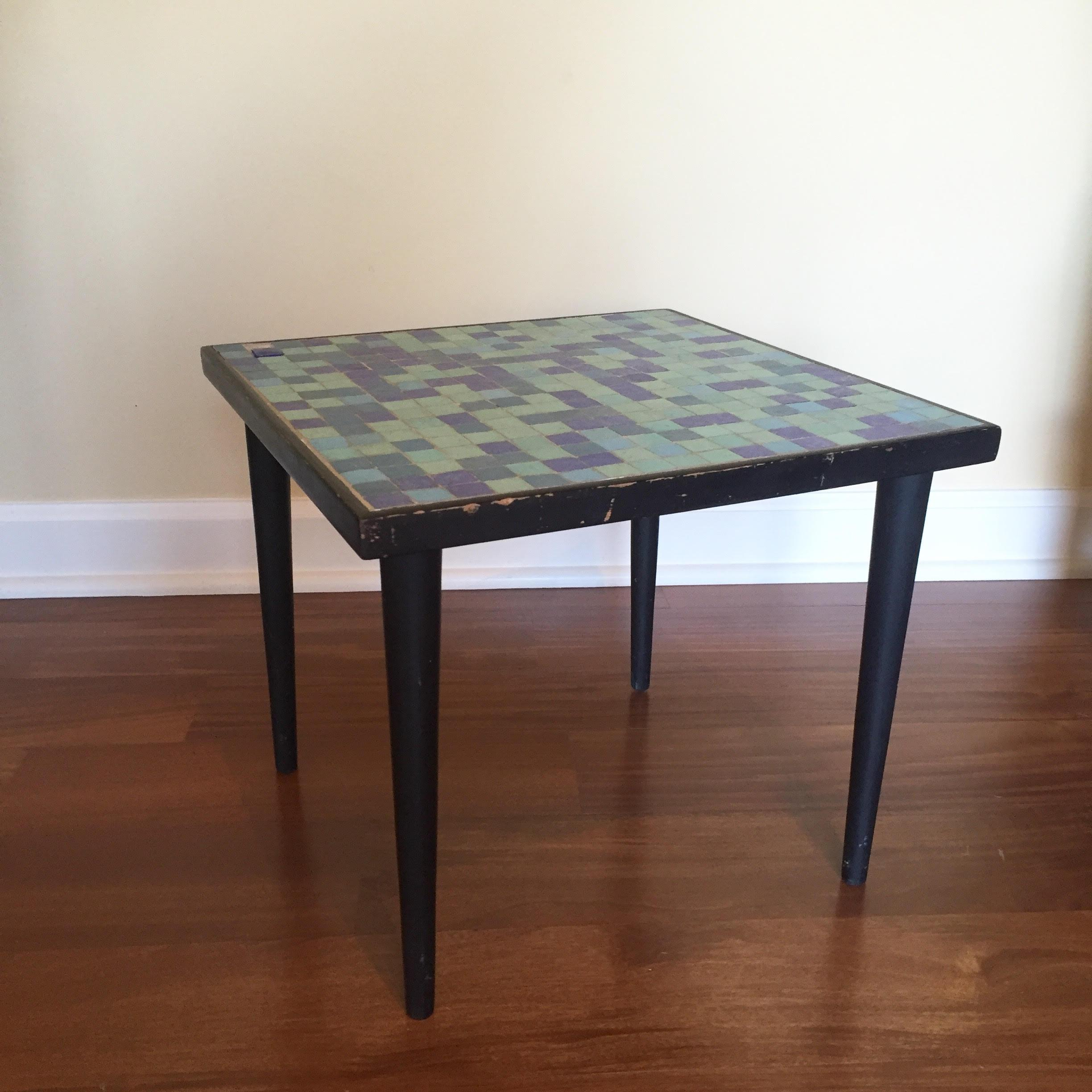 Mid Century Modern Mid Century Modern Glass Mosaic Side Table For Sale    Image