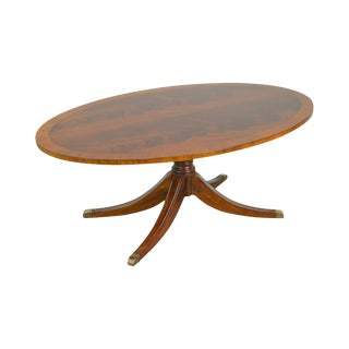 Ethan Allen Flame Mahogany Newport Thornton Oval Pedestal Coffee Table For Sale