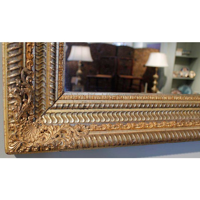 Mid-Century Modern 19th Century German Ripple Carved Gilded Mirror For Sale - Image 3 of 7