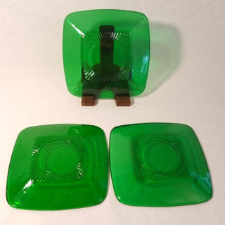 1960s Anchor Hocking Glass Forest Green Charm Salad Plates - Set of 3 Preview