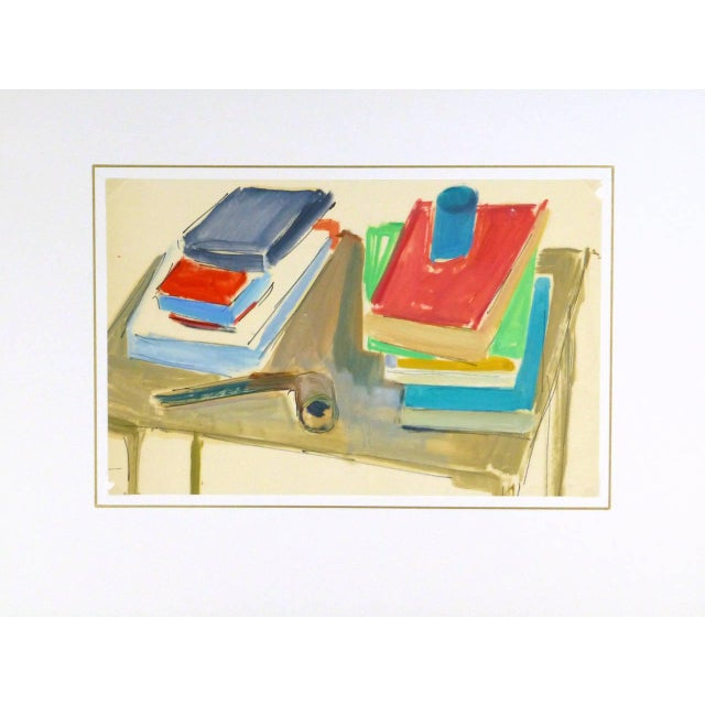 Madeleine Scali, Vintage French Still-Life Painting - the Reader's Table For Sale - Image 4 of 5
