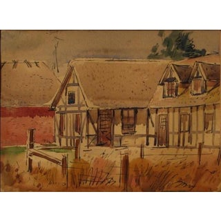 """""""Solvang House"""" 1930-60s, Ink & Watercolor on Paper For Sale"""