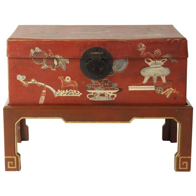 Red Hand-Painted Chinese Trunk on Stand For Sale - Image 8 of 8