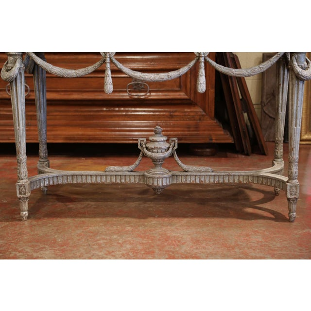 Pair of 19th Century French Carved Painted Consoles Tables With Faux Marble Top For Sale - Image 10 of 12