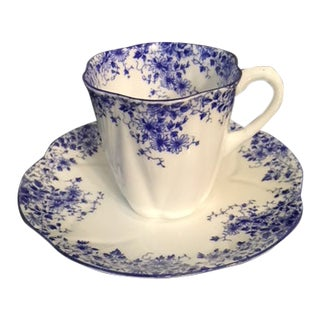 """Shelley """"Dainty Blue"""" Demitasse Cup and Saucer For Sale"""