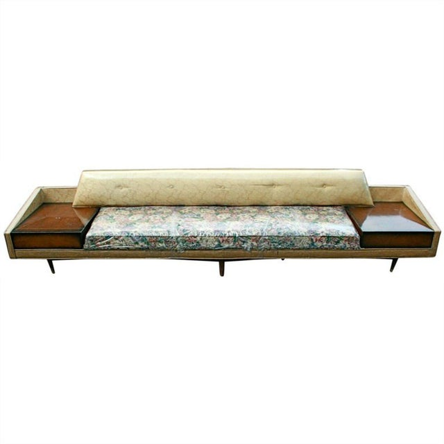 Monumental Floral Sofa with Incorporated End Tables For Sale - Image 5 of 5