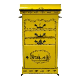 Late 19th Century Italian Regency Tole Metal Flip Top Yellow Dry Sink For Sale