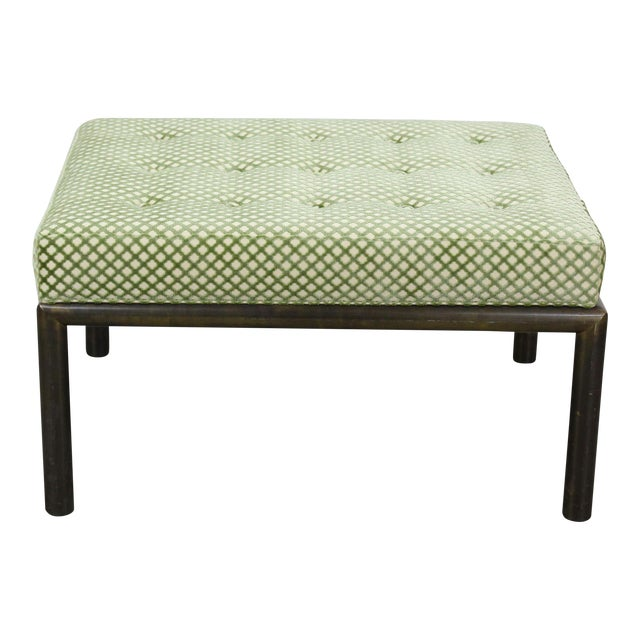 Mastercraft Solid Brass Ottoman With Chenille Textile For Sale