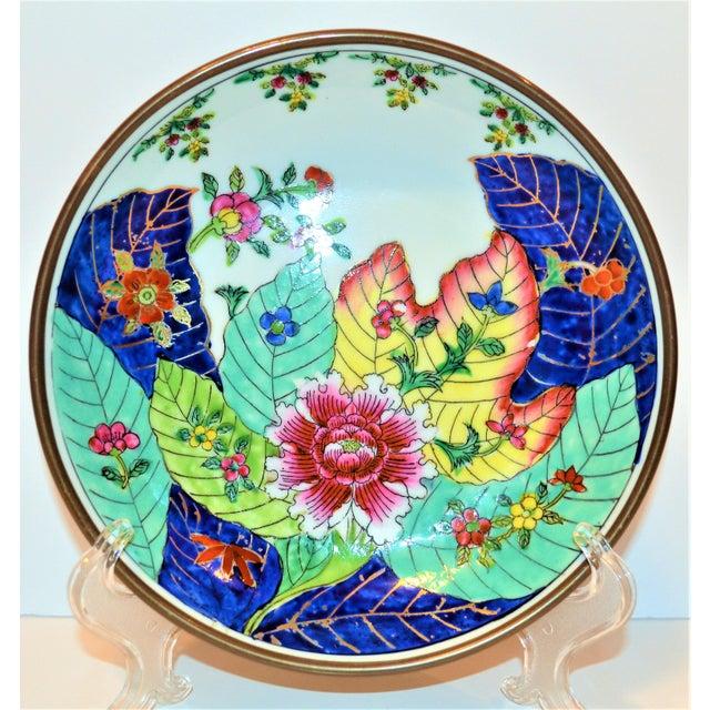 Blue 1980s Vintage Tobacco Leaf Porcelain and Brass Bowl For Sale - Image 8 of 13