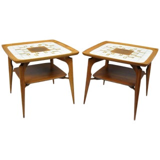 20th Century Danish Modern Walnut & Tile Dish Top Sculptural End Tables - a Pair For Sale