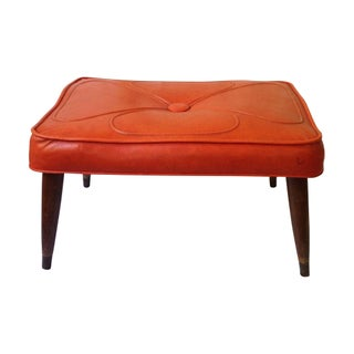 Orange Tufted Vintage Ottoman For Sale