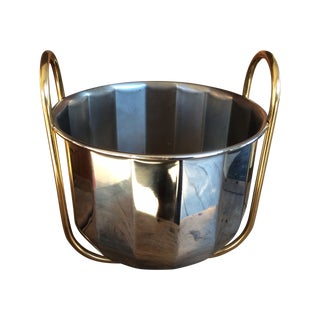 Vintage Silver & Brass Ice Bucket For Sale