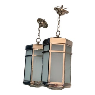 Charles Edwards Hanging Chrome Lanterns - a Pair For Sale