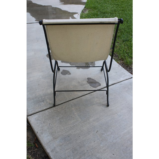 Vintage French Wrought Iron Sling Chair For Sale - Image 4 of 13