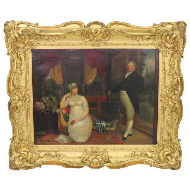 19th C. Painting Portrait of Lady & Gentlemen - Image 1 of 11