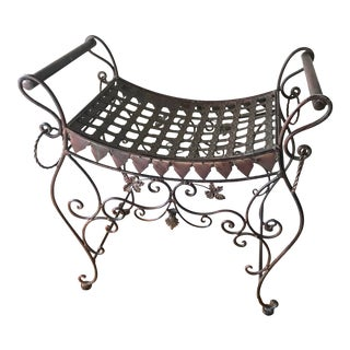 1990s Wrought Iron Scroll Bench For Sale