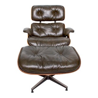 Eames for Herman Miller Dark Green Leather Lounge Chair and Ottoman For Sale
