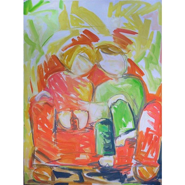 """Trixie Pitts Large Abstract Oil Painting by Trixie Pitts """"Bedtime Story"""" For Sale - Image 4 of 4"""