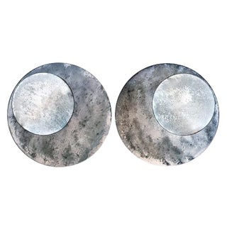 Small Oxidized Circular Mirrors - a Pair For Sale
