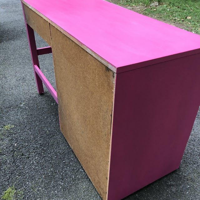 Campaign Style Hot Pink and Brass Single Pedestal Desk For Sale In New York - Image 6 of 7