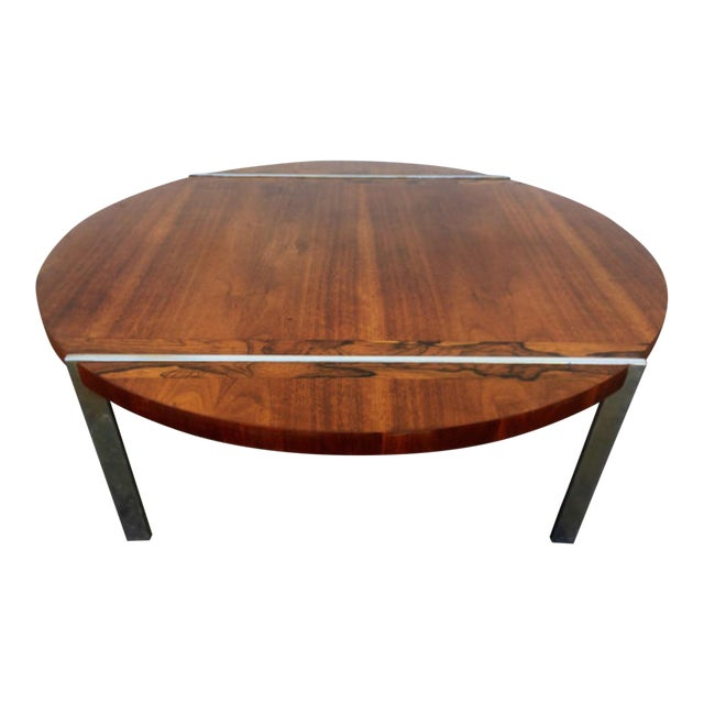 Lane Wood & Chrome Coffee Table For Sale