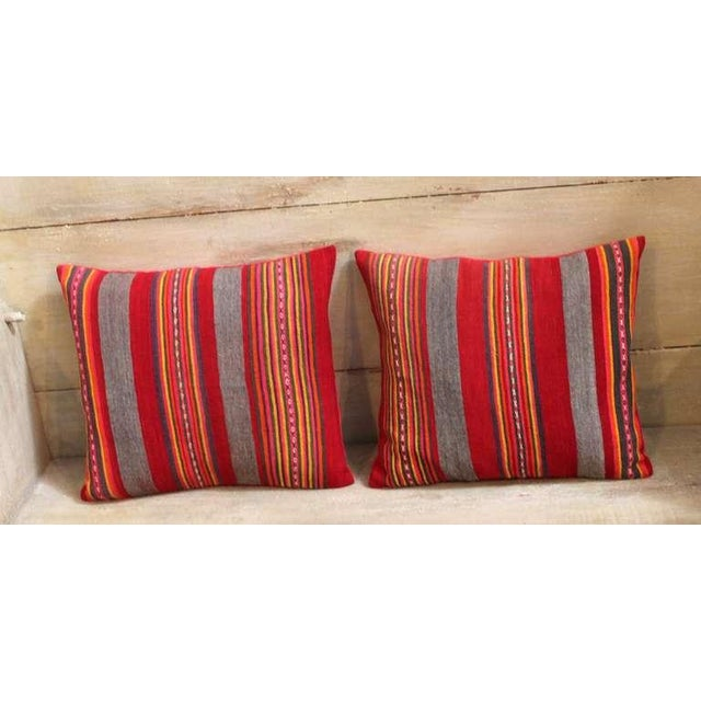 Early American Colorful Pair of Early 20th Century Red and Gray Wool Striped Pillows For Sale - Image 3 of 4