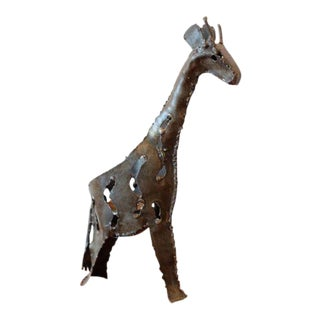 Industrial Metal Giraffe Sculpture & Candle Holder For Sale