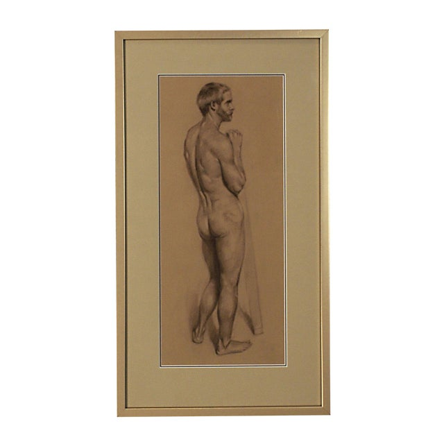 Vintage Academic Study of a Standing Male Nude For Sale