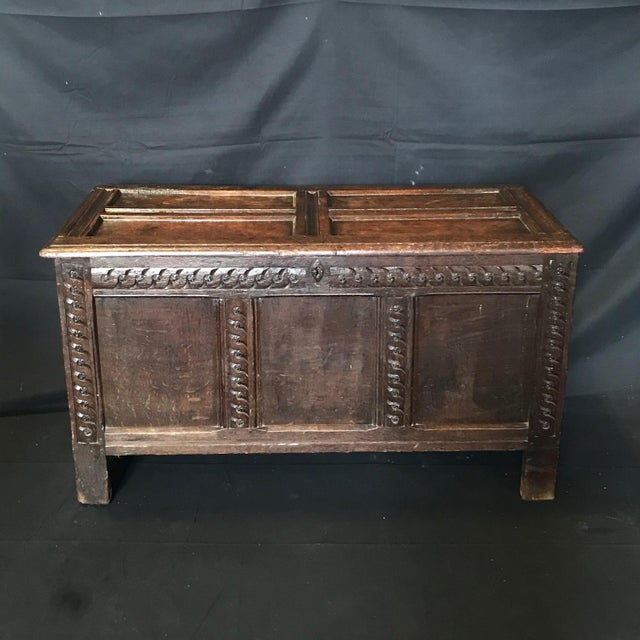 Antique 18th Century Paneled and Carved Scottish Coffer Chest For Sale - Image 13 of 13