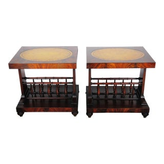 Vintage French Mahogany Side Tables with Leather Tops - a Pair For Sale