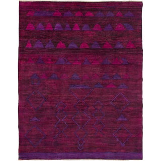 "Purple Moroccan Style Hand-Knotted Rug, 9'4"" X 11'11"" For Sale"