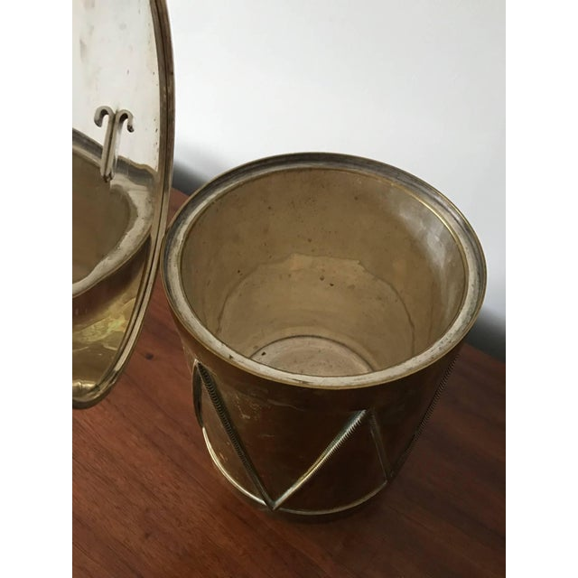 1960s Vintage Italian Brass Drum Ice Bucket For Sale - Image 5 of 7