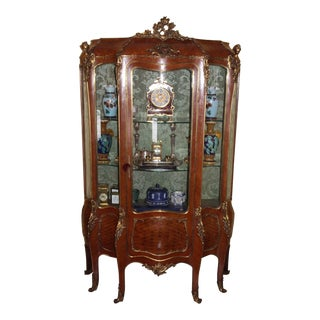Mid 19th Century Antique Kingwood French Display Cabinet For Sale